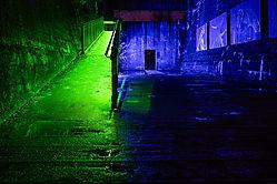 Raum in Blau und Grün
