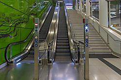 Treppen und grüne Wand
