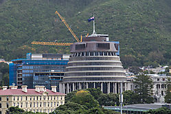 Bee Hive genanntes Parlamentsgebäude in Wellington, es ist Erdbeben sicher bebaut